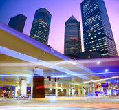 Megacity Highway. At night with light trails in shanghai china Stock Photos