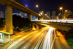 Megacity Highway. At night with light trails Royalty Free Stock Photography