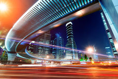 Megacity Highway. At night with light trails in shanghai china Stock Images