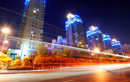 Megacity Highway. At night with light trails in shanghai china Stock Photo