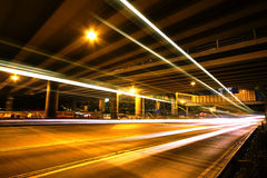Megacity Highway at night with light trails. In hong kong Royalty Free Stock Images