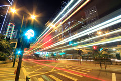 Megacity Highway at night with light trails. In hong kong Royalty Free Stock Image