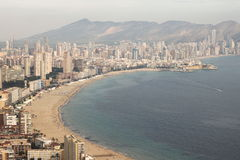 Megacity. Photo from the highest point in Benidorm city Royalty Free Stock Photo