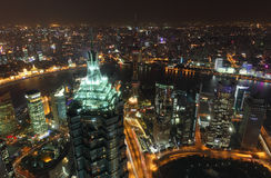 Megacity Shanghai at night. Aerial view over the megacity Shanghai at night Royalty Free Stock Images