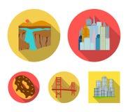 Megacity, uroczysty jar, Golden gate bridge, pączek z czekoladą USA kraju ustalone inkasowe ikony w mieszkaniu projektują Zdjęcie Royalty Free
