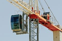 Megacrane in blue sky background. ne162. At 47 Beane St. Gosford. A working tower crane up close in blue sky on new home units building site at 47 Beane St. ne62 royalty free stock photo