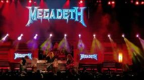 Megadeth på etappen, Bucharest, Rumänien Arkivbild