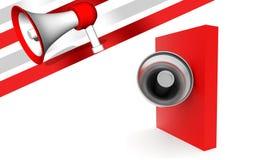 megafon 3d över den röda asken Royaltyfri Fotografi