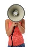 megafon genom att använda kvinnan Arkivbilder