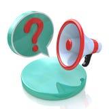 Megafon med anförandebubbla- och frågefläcken Royaltyfria Foton