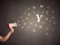 Megafon med bokstäver Royaltyfri Fotografi