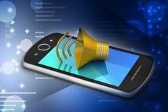 Megafon med den smarta telefonen Arkivbild