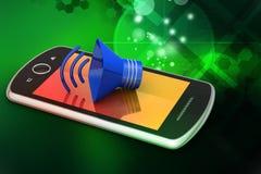 Megafon med den smarta telefonen Arkivfoton