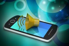 Megafon med den smarta telefonen Royaltyfri Fotografi