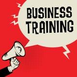 Megafon ręka, biznesowy pojęcie z teksta biznesu szkoleniem Obrazy Stock