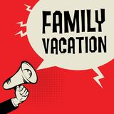 Megafon ręka, biznesowy pojęcie z teksta Rodzinnym wakacje Obrazy Royalty Free