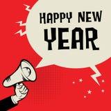 Megafon ręka, biznesowy pojęcie z teksta Szczęśliwym nowym rokiem Obrazy Royalty Free