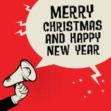 Megafon ręka z tekstów Wesoło bożymi narodzeniami i Szczęśliwym nowym rokiem, Obraz Royalty Free