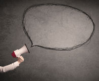 Megafon z rozmowa bąblem ilustracji