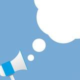 Megafone azul do fundo com teste padrão da nuvem para o texto Fotografia de Stock Royalty Free