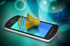 Megafone com telefone esperto Fotografia de Stock Royalty Free