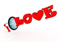 megafone 3d com palavra lustrosa do amor Imagens de Stock