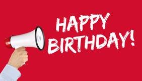 Megafone da celebração dos cumprimentos do feliz aniversario Fotografia de Stock Royalty Free