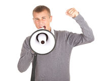 Megafone da terra arrendada do homem novo de Screamimg Foto de Stock Royalty Free