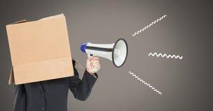 megafone de utilização principal do cartão com ilustrações imagens de stock