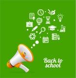 Megafone e ícone do vetor De volta ao conceito da escola Fotografia de Stock Royalty Free