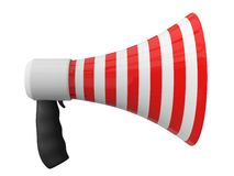 Megafone with red and white stripes design. Stock Photos