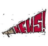 Megafonhögtalaresymbol som högt ropar nyheterna i vit backg Arkivbild