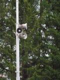 Megafoni o altoparlante della via sopra gli alberi Fotografia Stock Libera da Diritti