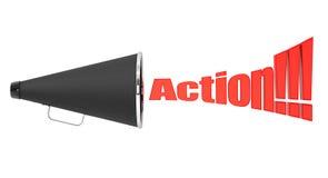 Megafono d'annata nero con il segno di azione Immagine Stock Libera da Diritti