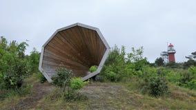 Megafono di legno gigante fotografia stock libera da diritti