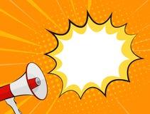 Megafono e fumetto nello schiocco Art Style Background Vector Illustration illustrazione di stock