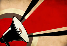 Megafoon of luidspreker op grungeachtergrond Royalty-vrije Stock Fotografie