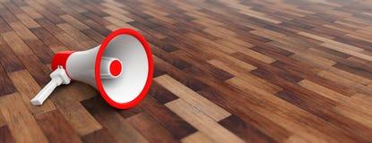 Megafoon, megafoonwit met rode details op houten vloerachtergrond, vooraanzicht, banner, exemplaarruimte 3D Illustratie Stock Afbeeldingen