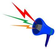 Megafoon met kleurengolven Stock Fotografie