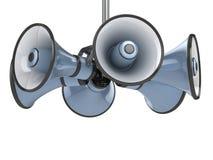 Megafoons die op wit worden geïsoleerd vector illustratie