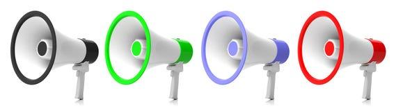 Megafoons, megafoonscollage op witte achtergrond 3D Illustratie royalty-vrije illustratie