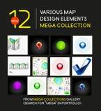 Megainzameling van de elementen van het kaartontwerp Stock Foto
