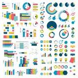 Megainzameling van grafieken, grafieken, stroomschema's, diagrammen en infographicselementen Stock Fotografie