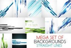 Megainzameling van rechte lijnenachtergronden Stock Afbeeldingen