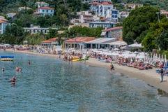 Megali弹药海滩,斯基亚索斯岛,希腊 库存照片