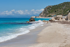 Megali Petra beach at the island of Lefkada Stock Images