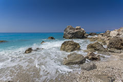 Megali Petra Beach, Lefkada, Ionian Islands Stock Photos