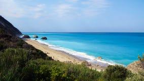 Megali Petra Beach, Lefkada Island, Levkas, Lefkas, Ionian sea, Greece Royalty Free Stock Photos
