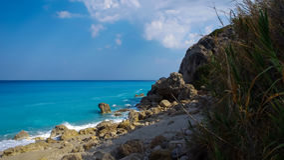 Megali Petra Beach, Lefkada Island, Levkas, Lefkas, Ionian sea, Royalty Free Stock Photos