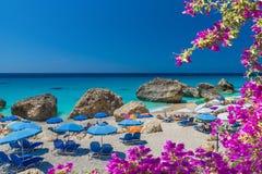 Megali Petra, plaża na Ionian morzu w Lefkada wyspie, Grecja zdjęcie royalty free